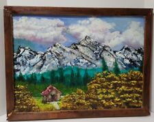 Bob Ross Style Oil Painting of Mountain Scene by a Novice Painter Crudely Framed