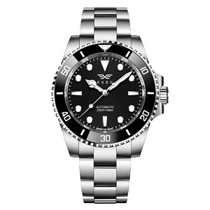 Exec Seiko NH35 40mm Automatic Watch Sapphire Black Stainless Sub Homage Steel