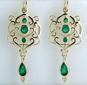 E104 ORNATE Genuine 9ct SOLID Gold NATURAL Emerald Drop Dangle Earrings Filigree