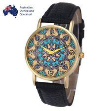 NEW Women Totem Vintage Black Leather Strap Casual Quartz Watch Wristwatch