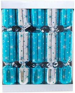 Toyland® 10 Turquoise + Silver Christmas Crackers - 5 Turquoise 5 Silver