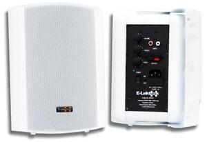 E-Lektron EWL5A Aktiv-Lautsprecher Satz Wand-Lautsprecher Boxen Paar Weiß