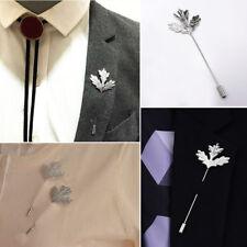 Men's Suit Accessories Lapel Leaf Handmade Boutonniere Stick Brooch Pin Wedding