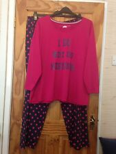 "Ladies Sz 28-30 (PlusSize) Simply Be Pink & Navy ""Do Not Do Mornings"" Pyjama Set"