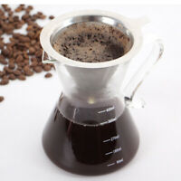 Stainless Steel Reusable Coffee Filter Holder Pour Over Mesh Tea Dripper Cup BI