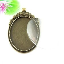 1SET Antiqued Bronze Alloy Oval Flower Lace Bezel Glass Cameo Pendant Charms
