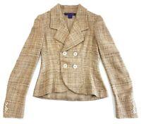 Ralph Lauren Purple Label Silk Double Breasted Blazer Jacket Size 4 Womens