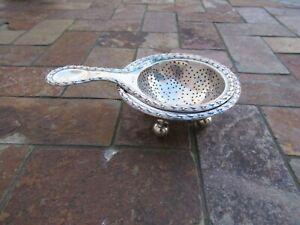 Antique European 800 Silver Tea Strainer w Underplate, 118 gtw