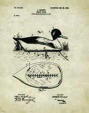 "Duck Hunting Antique Decoy US Patent Poster Art Print 11/""x14/"" Calls PAT41"