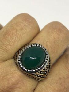 Vintage Stainless Steel Genuine Green Chrysoprase 10 Men's Ring