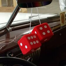 Red Custom Fuzzy Hanging Rearview Mirror Dice Pair w/ White Dots fat fender Ford