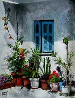 Garden Patio Villa Flower Blue Window Shutters ORIGINAL OIL PAINTING Yary Dluhos