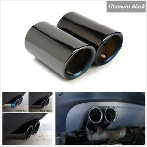 Pair Titanium Black Car Exhaust Pipe Tail Tips For BMW E90 E92 325 328i 3 Series