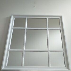 Square White Window Style Wall Mirror Mantel Hallway Living room Mirror Decor