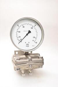 Ashcroft GmbH 160=F5509=S=02=L=0/150 inH20=FW=CS 0-150GPM Diff. Pressure Gauge
