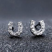 Mini Fashion U Women Silver Rhinestone Crystal Ear Stud Earrings Jewelry Gift