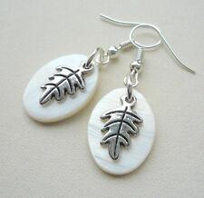 Cream Oval Shaped MoP Shell Silver Leaf Charm Dangle Earrings    KCJ2694