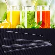 4x High Borosilicate Clear Glass Drinking Straws & Brush Wedding Birthday Party