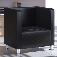 vidaXL Leather Armchair Modern Black Tub Club Chair Seat Wing Sofa Home Office