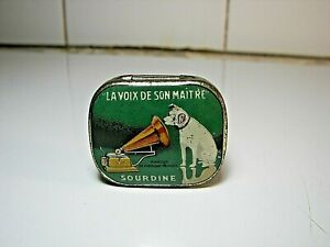Rare French Gramophone Needles Tin HMV 1930 Phonograph Nadeldose  #1 Green