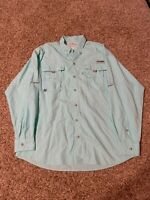Columbia PFG Men's Long Sleeve Green Vented Shirt Large Omni Shade Fishing Boat