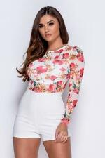 FULL SLEEVE FLORAL PRINT MESH PLAYSUIT