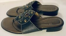 Unisa Sandals Black Bronze Soles Leather Studs Slip On Sandals Size 10 M EUC!