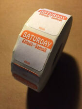 """Roll of 1000 SATURDAY 1"""" x 1"""" SQUARE Removable Trilingual Food Rotation Labels"""