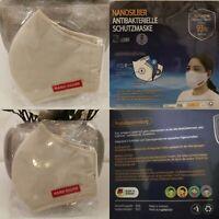 4 Stück Nano Silber 3 Lagig  Waschbar Mund Nase Face Kosmetik Maske Beige