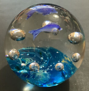 Clear Glass Round Paperweight with Blue Dolphins/Fish