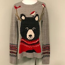 New Abercrombie & Fitch M Gray Bear w/ Antlers Birds Christmas Holiday Sweater