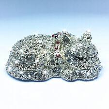 Sleeping Cat Trinket Box Gift Crystals Enamel Necklace Ring Box NEW