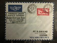 1939 Saigon Laos Hanoi Vietnam First Flight Cover 200 Flown FFC via Air France 3