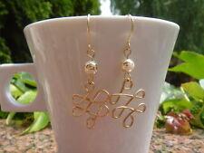 Gold-Ohrhänger, 585 Goldfilled, filigran mit Perlen