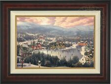 Thomas Kinkade Sunset on Snowflake Lake 18 x 27 LE Canvas G/P (Burl Frame)
