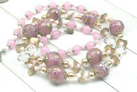 Vintage Necklace Venetian Glass Wedding Cake Pink Crystal AB Gold Brass Long
