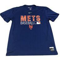 Nike New York Mets Shirt Adult Large Blue Orange Dri Fit Baseball MLB  *