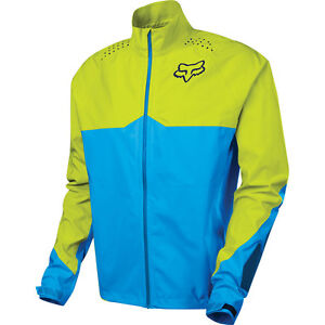 Fox Downpour LT Jacket Black/Charcoal, Blue/Yellow - Waterproof Mountain Bike