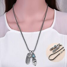 Vintage Goro's Tibet Real Silver Leaf Feather Charm Pendant Long Chain Necklace