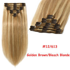Invisible Clip in THICK Double Weft Human Hair Extensions Full Head Highlight US