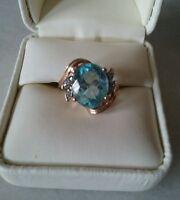 Swiss Blue Topaz Diamonds Ring 14kt, Size 7 New