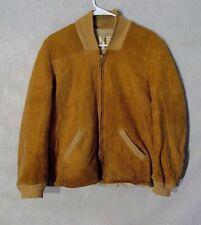 Z8622 Men's Vintage 1950's Penney's Outerwear Brown Suede Full Zip Jacket