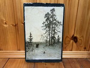 """Antique Russian Painting.""""Winter landscape"""".Signed."""