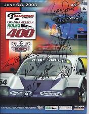 2003 Rolex California Speedway SIGNED Program Borcheller Donahue Barbosa Probst