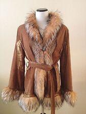 Stunning Vinicio Pajaro Made In Italy Argentina Fox Suede Fur Coat Womens M