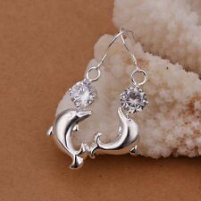 Hot 925Sterling Silver Dolphin Crystal Dangle Drop Earrings US Ship US ship