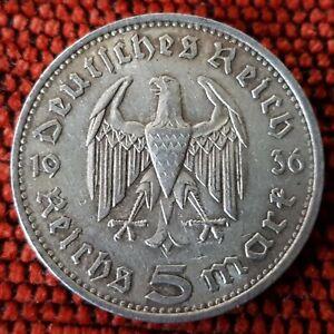 Germany Nazi 5 Reichsmark Hinderburg 1936 F .900 Silver Lot  307