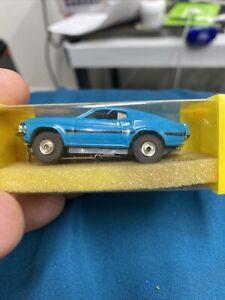 VINTAGE AURORA THUNDERJET 500 HO SLOT CAR BLUE FORD MUSTANG MACH I TJET