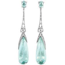 Simple Silver Green Crystal Zircon Women Jewelry Gemstone Dangle Earrings FH8652