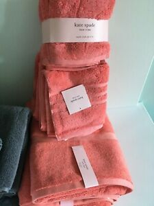 Kate Spade Bath Hand Washcloth Towel Set 8 Pcs Harrington Grey/Pink/White/Coral